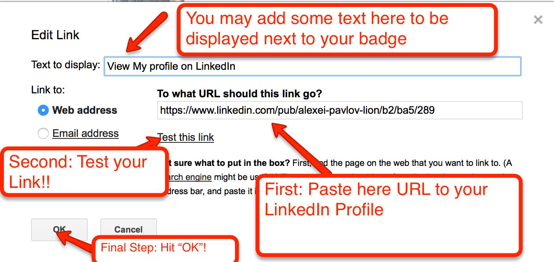 Final Step of adding Linkedin badge to Gmail Signature