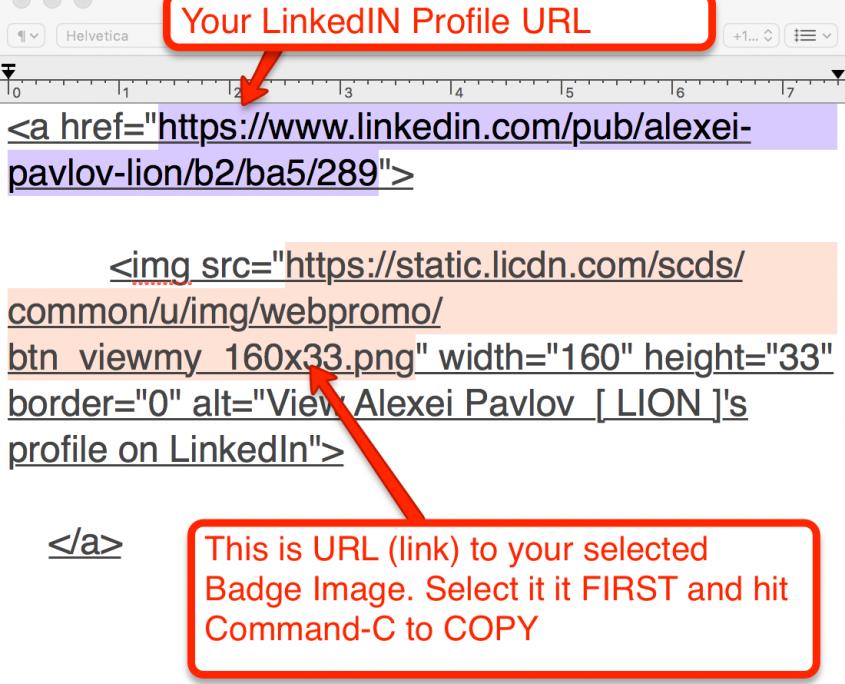 Copying URL code for Linkedin Image